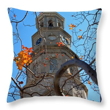 St. Philips Church Steeple - Charleston Sc Throw Pillow by Suzanne Gaff