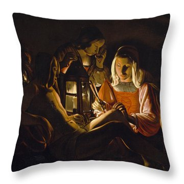 St. Sebastian Tended By Irene Throw Pillow by Georges de la Tour