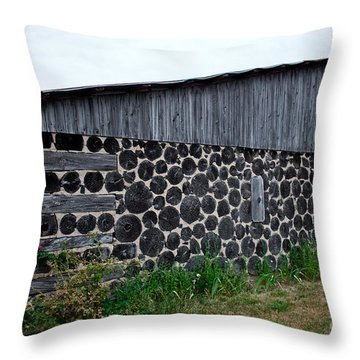 Throw Pillow featuring the photograph Stacked Block Barn by Barbara McMahon
