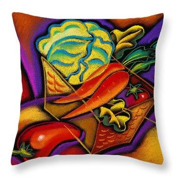 Staff For Yummy Salad Throw Pillow