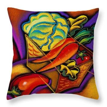 Staff For Yummy Salad Throw Pillow by Leon Zernitsky