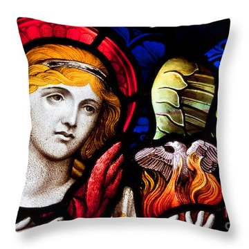 Throw Pillow featuring the photograph Stained Glass Angel by Verena Matthew