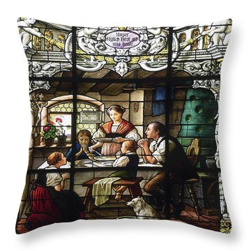Stained Glass Family Giving Thanks Throw Pillow by Sally Weigand