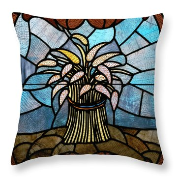 Stained Glass Lc 11 Throw Pillow by Thomas Woolworth