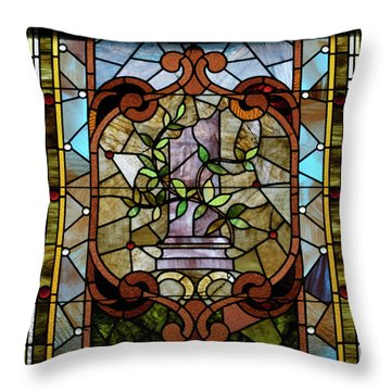 Stained Glass Lc 12 Throw Pillow by Thomas Woolworth