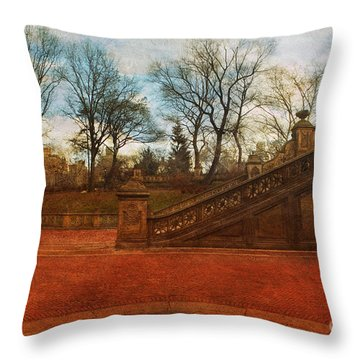 Stairway In Central Park Throw Pillow