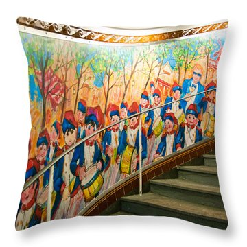 Stairway Mural At Montmartre Metro Exit Throw Pillow by Jon Berghoff