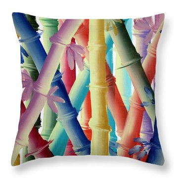 Stalks Of Color Throw Pillow