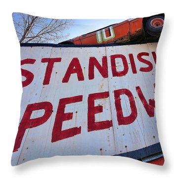 Standish Speedway Throw Pillow by Gordon Dean II