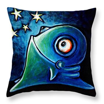 Throw Pillow featuring the painting Star Gazin' Glob by Leanne Wilkes