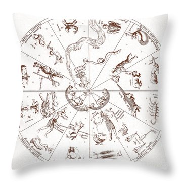 Star Map From Kirchers Oedipus Throw Pillow by Science Source