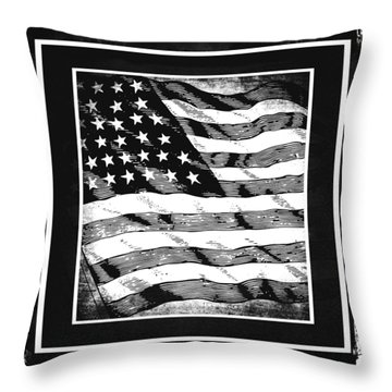 Star Spangled Banner Bw Throw Pillow by Angelina Vick
