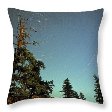 Star Trails, North Star And Old Douglas Throw Pillow by David Nunuk