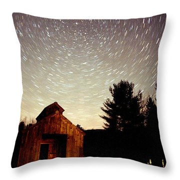 Star Trails Over Sugar Shack Throw Pillow by Rick Frost