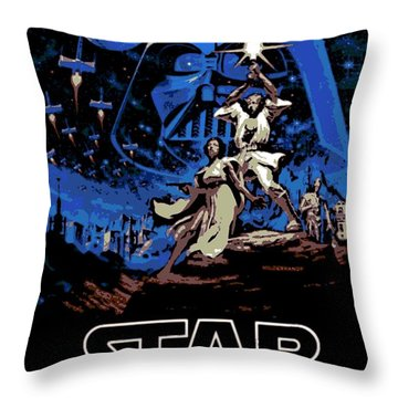 Star Wars Poster Throw Pillow by George Pedro