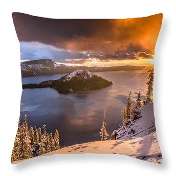 Starburst Sunrise At Crater Lake Throw Pillow