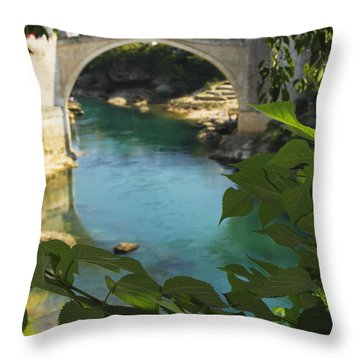 Stari Most Or Old Town Bridge Over The Throw Pillow