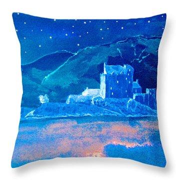 Starry Night Eilean Donan Castle Throw Pillow