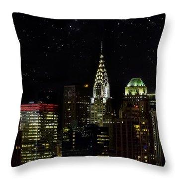Starry Night Throw Pillow by Janet Fikar
