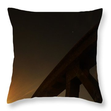 Throw Pillow featuring the photograph Starry Night On Sunset Bridge by Andy Prendy