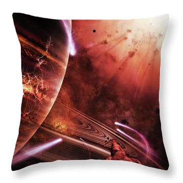 Starships Hone Their Skills Throw Pillow by Brian Christensen