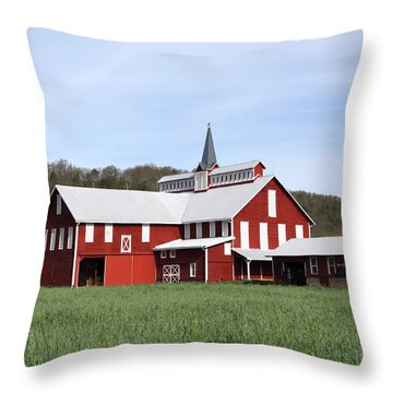 Stately Red Barn With Elongated Clerestory Cupola Throw Pillow by John Stephens