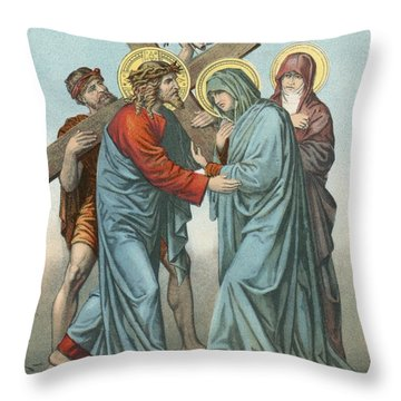 Station Iv Jesus Carrying The Cross Meets His Most Afflicted Mother Throw Pillow by English School