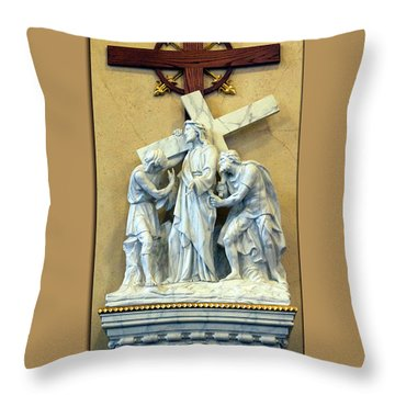 Station Of The Cross 02 Throw Pillow by Thomas Woolworth