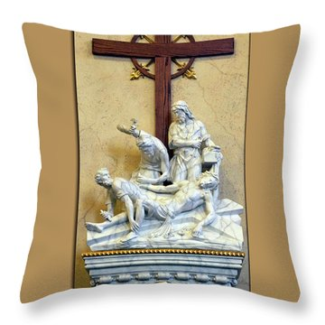 Station Of The Cross 11 Throw Pillow by Thomas Woolworth
