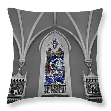 Stations Of The Cross Throw Pillow by Susan Candelario