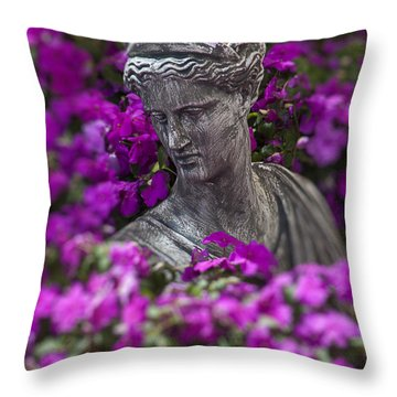 Statue In The Garden Throw Pillow by Garry Gay