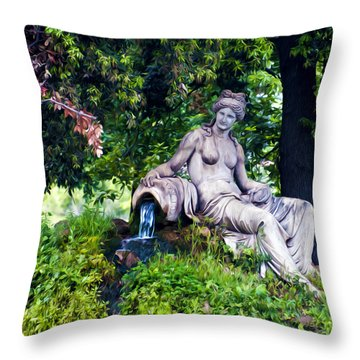 Statue In The Woods Throw Pillow by Fabrizio Troiani