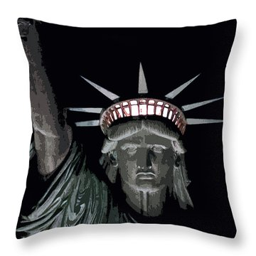 Statue Of Liberty Poster Throw Pillow by David Pringle