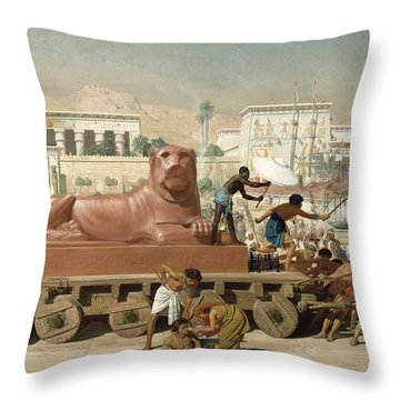 Statue Of Sekhmet Being Transported  Detail Of Israel In Egypt Throw Pillow by Sir Edward John Poynter