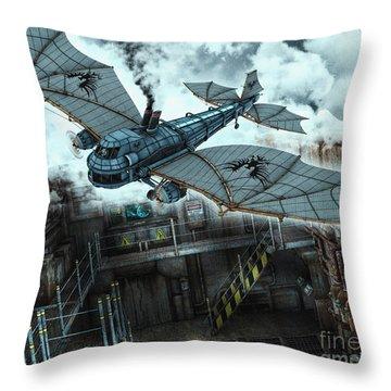 Steam Dragon Crossing Throw Pillow