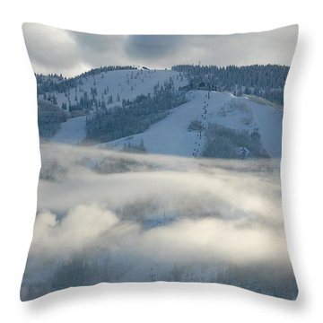 Throw Pillow featuring the photograph Steamboat Ski Area In Clouds by Don Schwartz