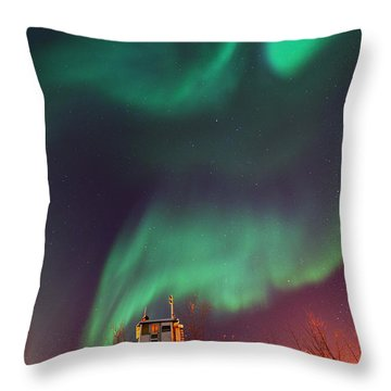 Steamboat Under Northern Lights Throw Pillow by Priska Wettstein