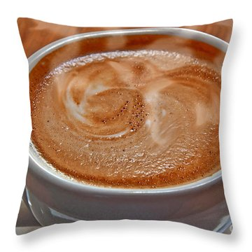 Throw Pillow featuring the photograph Steaming Hot Latte by Valerie Garner