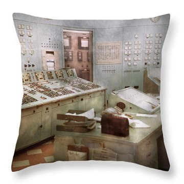 Steampunk - Retro - The Power Station Throw Pillow by Mike Savad