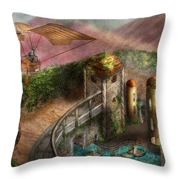Steampunk - The Age Of Invention Throw Pillow by Mike Savad