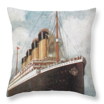 Steamship Titanic Throw Pillow by Photo Researchers