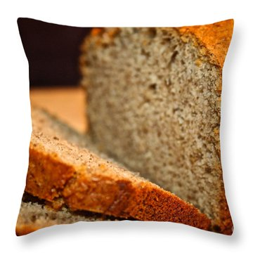 Steamy Fresh Banana Bread Throw Pillow by Susan Herber