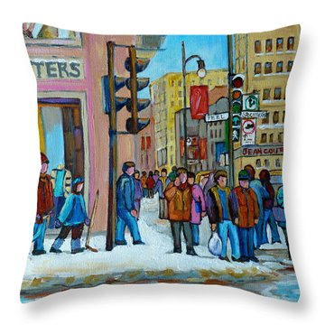 Ste.catherine And Peel Streets Throw Pillow by Carole Spandau