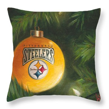 Throw Pillow featuring the painting Steelers Ornament by Joe Winkler