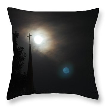 Steeple And Two Moons Throw Pillow