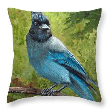 Stellar Jay Throw Pillow by Dee Carpenter