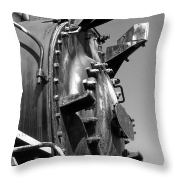 Throw Pillow featuring the photograph Steme Engine Front Black And White by Darleen Stry