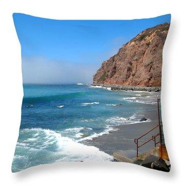 Steps To The Beach. Dana Point California Throw Pillow by Connie Fox