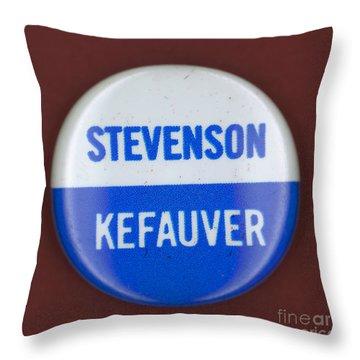 Stevenson Campaign Button Throw Pillow by Granger