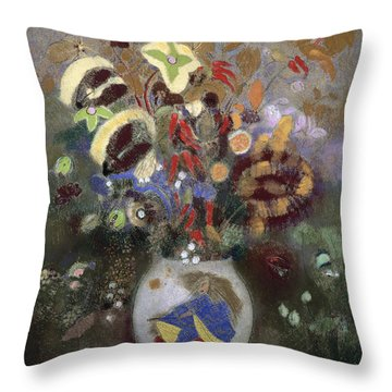Still Life Of A Vase Of Flowers Throw Pillow by Odilon Redon